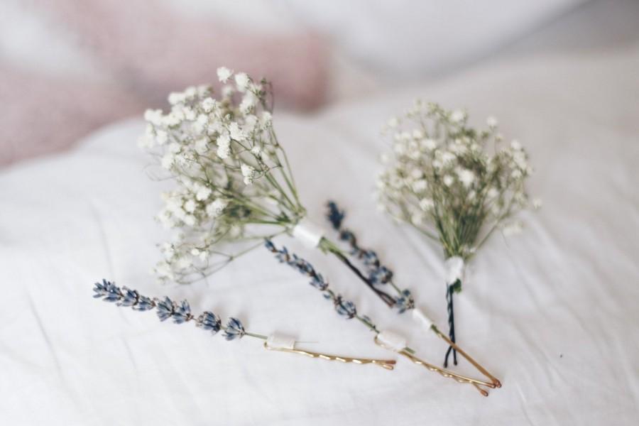 Mariage - Baby's Breath Bridal Hair Pin Set, Lavender Hair Pins, Dried flowers Hair pins, Dried Flowers Hair accessory, Boho weddings, Natural Bride