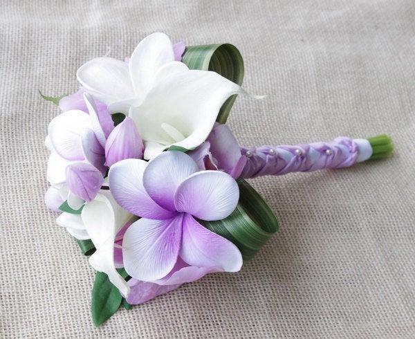 Mariage - Purple Silk Flower Natural Touch Lavender Lilac Plumerias and Orchids Beach Wedding Bride Bouquet