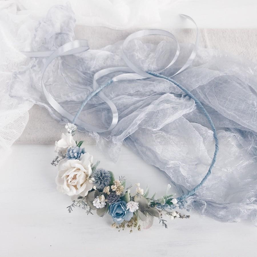 Mariage - Flower crown wedding, Blue Bridal flower crown, Bridal flower headpiece, Wedding headpiece, Woodland wedding
