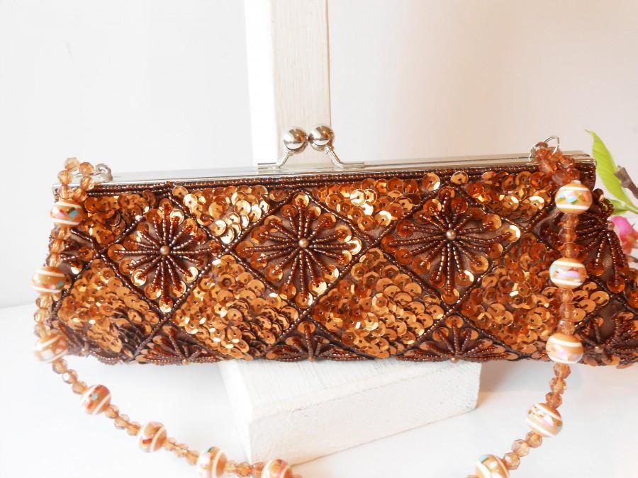 Mariage - Vintage Beaded Evening Bag, Copper Beaded Clutch Bag EB-0369