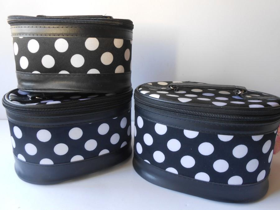 Mariage - Glamorous Vintage Vanity Cases, Set of Three Black/White Polka Dot