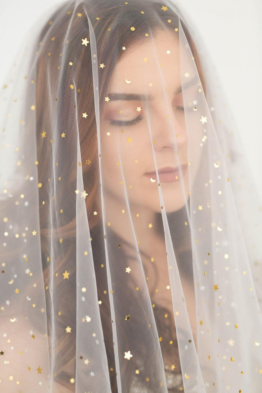 Mariage - Moon and stars veil, Tulle veil with silver and gold moons and stars, statement veil, rock and roll bride, alternative veil, Tulle drop veil