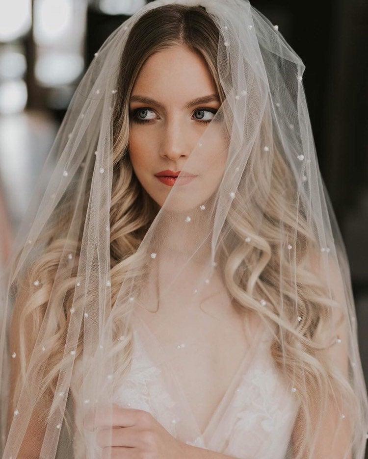 زفاف - Soft tulle veil with pearls, silky veil with pearl embroidery, Ballet veil,  waitz veil, chapel veil, cathedral veil, waltz veil,  boho veil