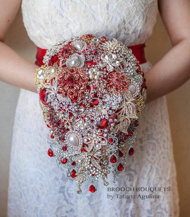 Mariage - Cascading Brooch bouquet. Red and Gold vintage wedding broach bouquet, Jeweled Bouquet keepsake broche bouquet