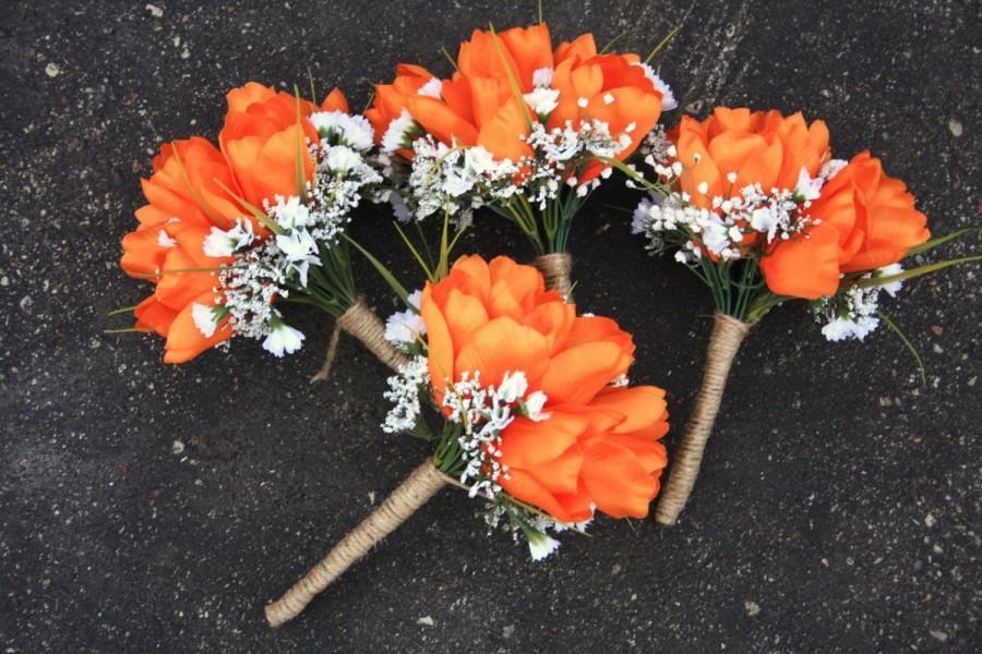 Свадьба - Orange Green Camo Hunting Bouquet, Orange Bouquet, Fall Bouquet, Bridal Bouquet, Wedding Flowers