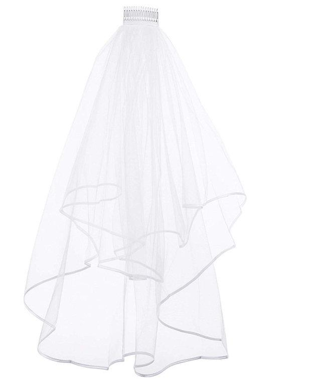 Mariage - Ladies White Two Tiered Wedding Veil. Novelty Hen Party Accessories, Bride To Be Fun. Essential For The Bride To Be's Hen Party! Fancy Dress