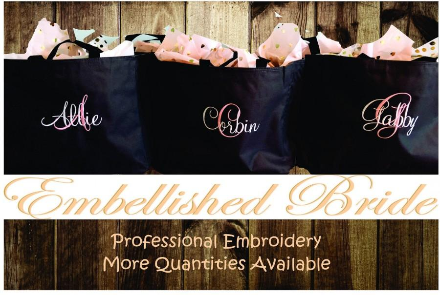 Mariage - Set of 6 Personalized Embroidered Tote Bags Bridal Party Bridesmaid Gift