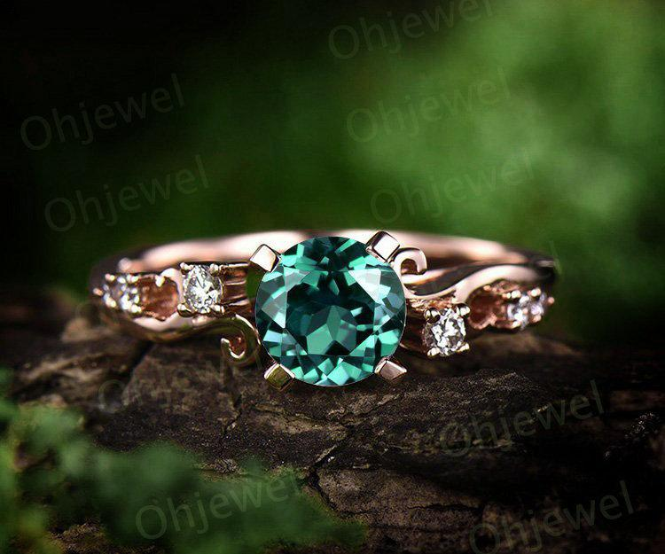 Свадьба - Emerald engagement ring rose gold 14K/18K emerald ring gold vintage diamond ring unique wedding ring band promise ring may birthstone ring