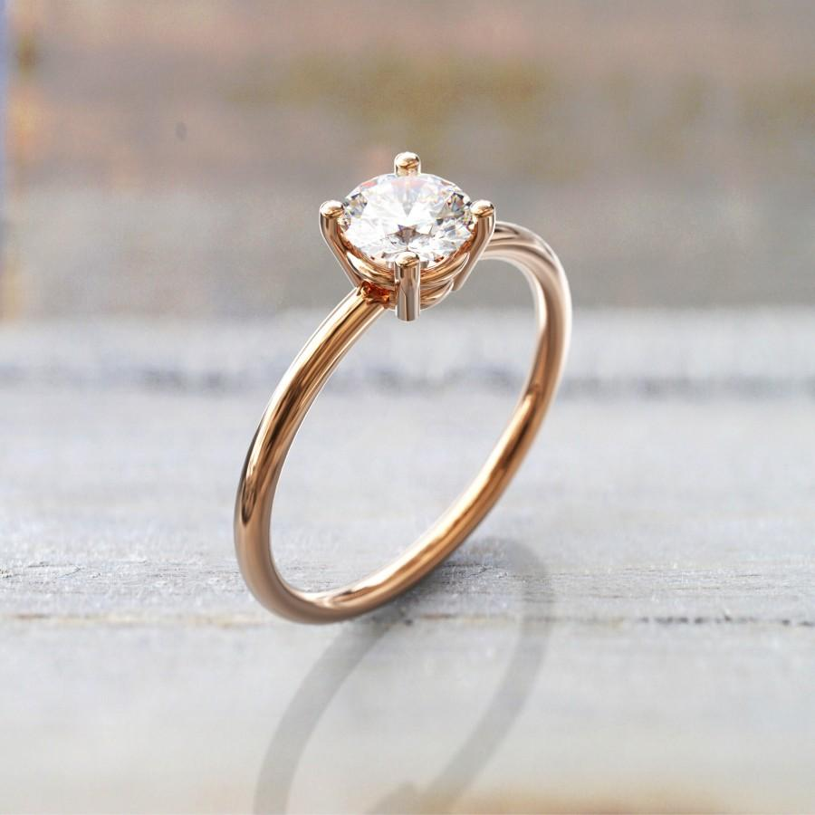 Wedding - White Sapphire Engagement Ring 4 Prong 1CT Round Solitaire  14k Solid Rose Gold minimalist Ring