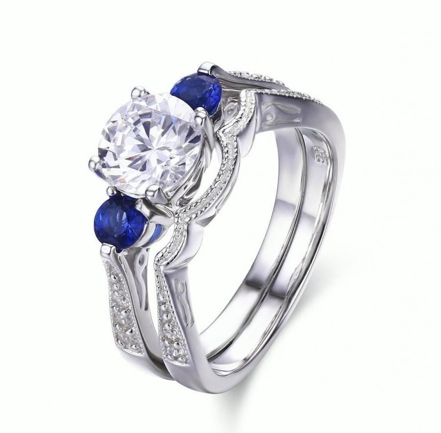 زفاف - 925 Sterling Silver Sapphire Cz Engagement Wedding Ring Set Size 5 SS791