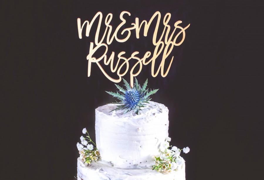Свадьба - Wedding Cake Topper Personalised Mr & Mrs Cake Topper Laser Cut Acrylic Unique Names Custom Wedding Cake Sign For Engagement Cake Rose Gold