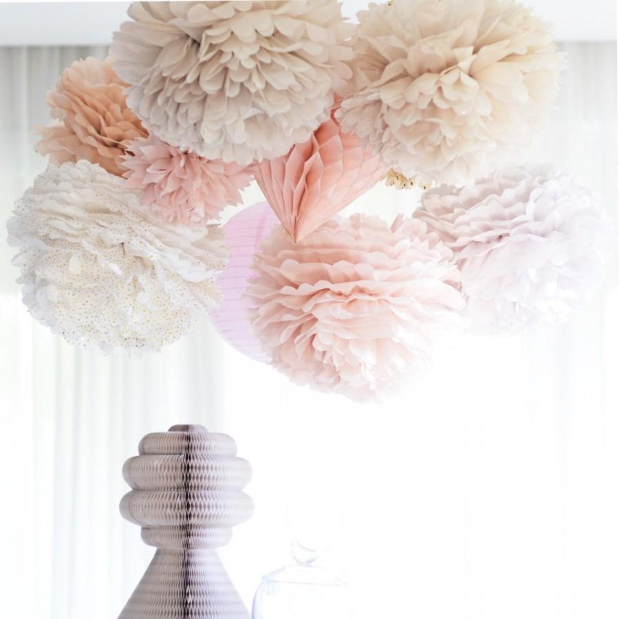 Свадьба - Dusty blush 80 mixed size Tissue paper  Pom Poms set