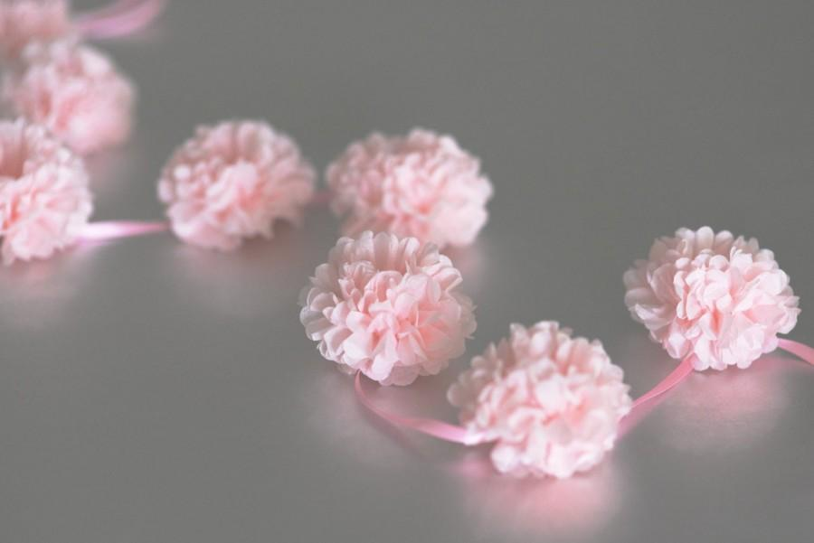 Свадьба - Blush pink tissue paper PomPom garland / buntings - party decorations - custom colors - 3m