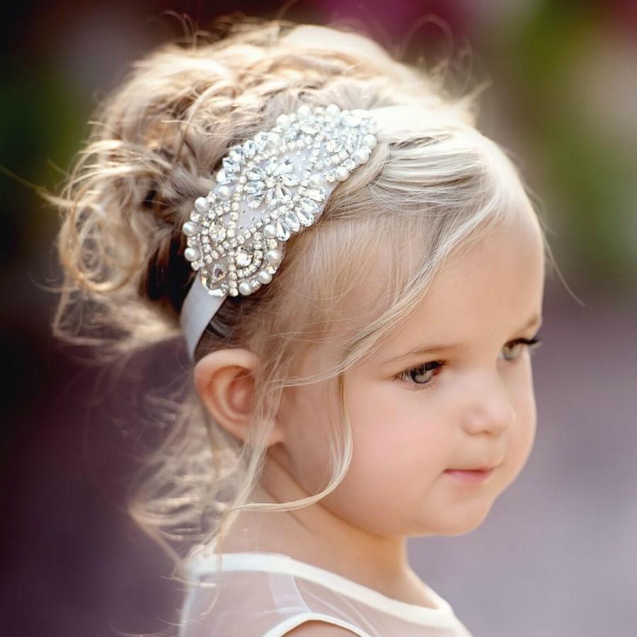 Hochzeit - Flower Girl Headband, Rhinestone Headband,Baby headbands, Gatsby Headband, Bridal Headband, Crystal Headband, Bling Headband,Christening Bow