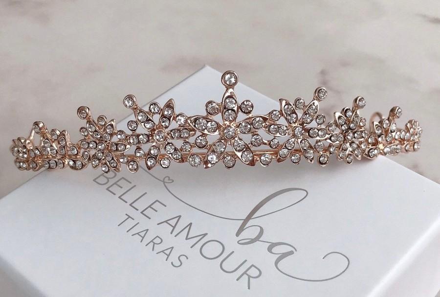 زفاف - Rose gold tiaras SALE Wedding tiara Bridal hair accessories Wedding crown Rhinestone tiara Bridal hairpiece Brides hairpiece Rose gold Bride