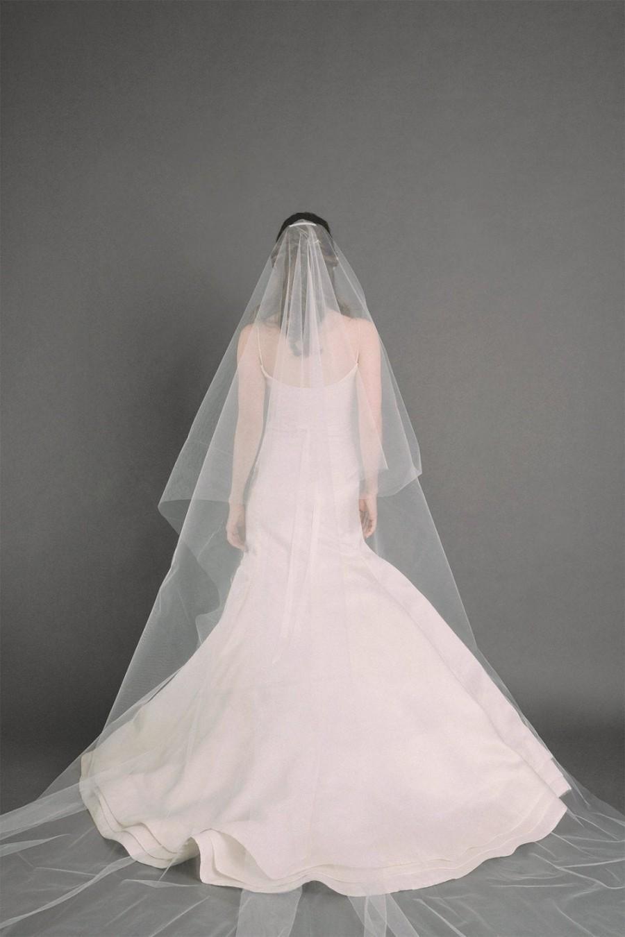 Mariage - W.J. Veil - Cathedral Length Drop Veil, Bridal Veil, Wedding Veil, Long Veil, Circle Veil, Ivory Veil, Romantic Veil, Kate Middleton Veil