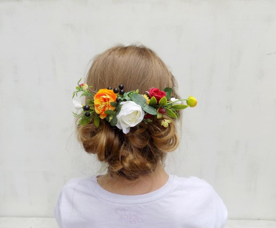 Mariage - Autumn Fall wedding hair comb bridal hair accessories headpiece rustic wedding gift for women for her white red orange boho flower comb