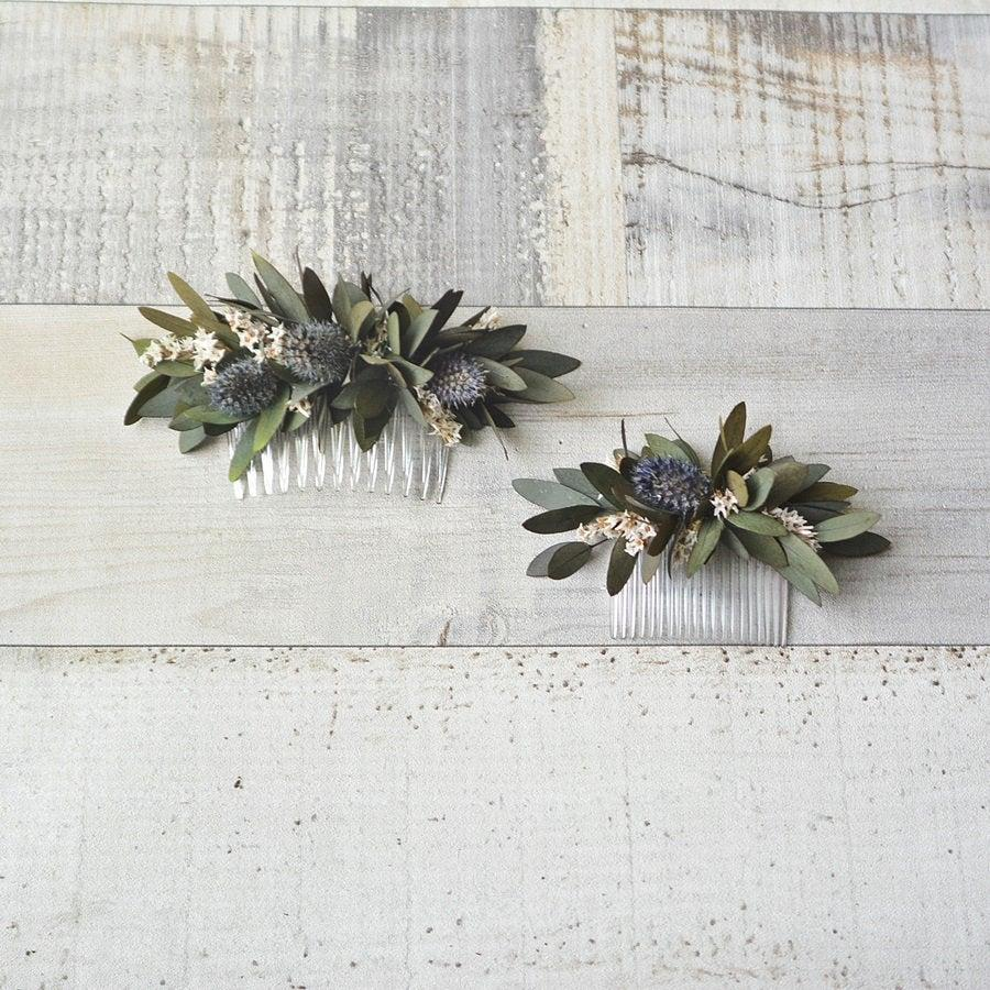 Hochzeit - Greenery hair comb natural preserved eucalyptus wedding bridal rustic hairpiece wedding floral bridesmaid comb wedding headpiece hairclip