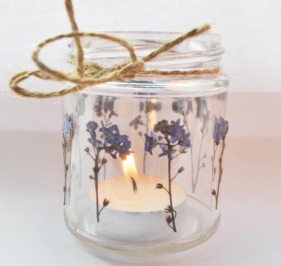 Wedding - Forget me knot mason jar, forget me knot candle holder, wedding jar, flower lantern, wedding tea light, flower mason jar, small mason jar