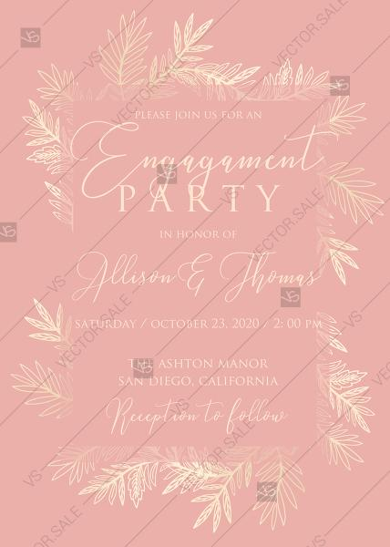 Wedding - Wedding invitation cards embossing blush pink gold foil herbal greenery PDF 5x7 in create online online maker