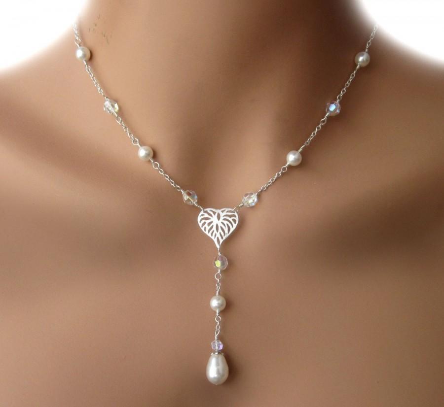 زفاف - Sterling Silver Pearl Crystal Wedding Y Necklace Heart Leaf Womens Jewelry Bridal Party Maid of Honor Gift