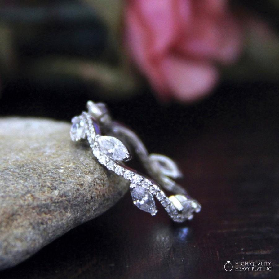 زفاف - 0.54 cttw-Wavy-1.3mm Wide Wedding Band Ring-Marquise Cut Diamond Simulants-Leaf-Vine-Bridal Ring-Eternity Ring [1852]