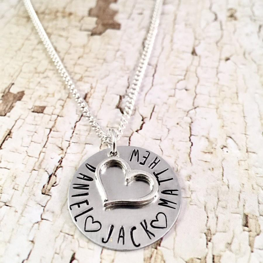 Свадьба - Mothers Necklace, Personalized Heart Necklace, Name necklace, mothers day gift, Family necklace, Mom of Boys, Mom of Girls, push present