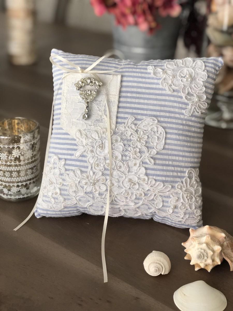 Mariage - Beach wedding /Wedding Pillow/Ring Bearer Pillow/Vintage Wedding/seersucker Pillow/Lace Wedding Pillow
