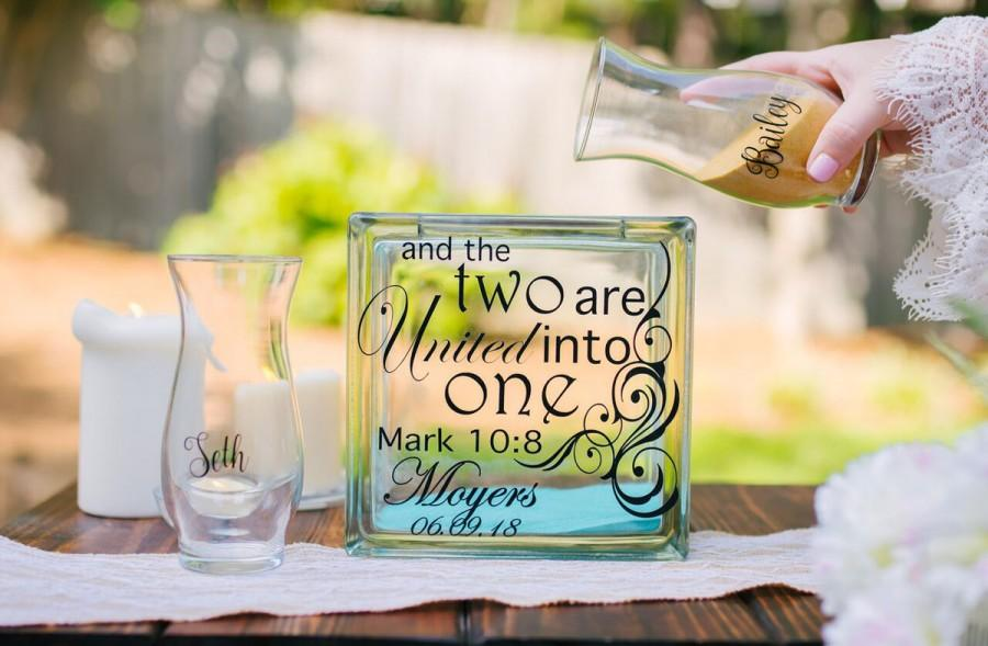 Wedding - Personalized Sand Ceremony Set - Blended family unity sand ceremony set - Unity Ceremony - Bible verse - two shall become one - Mark 10