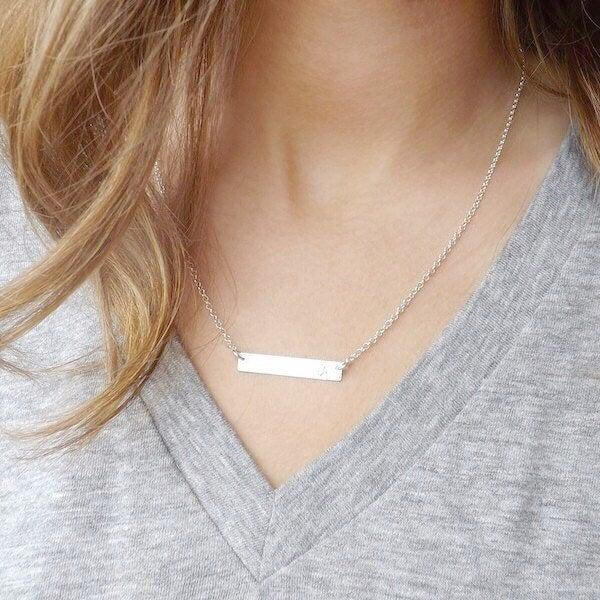 Hochzeit - Dainty Coordinates Custom Bar Necklace, Latitude Longitude necklace, Personalized Custom Location Jewelry, Engraved wedding Date necklace,