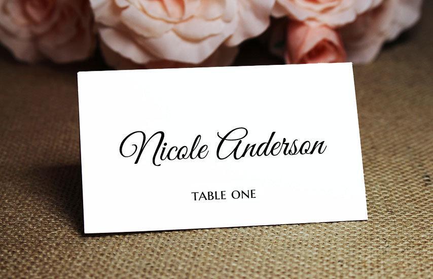 زفاف - White, Light Gray, Ivory or Blush Wedding Place Cards