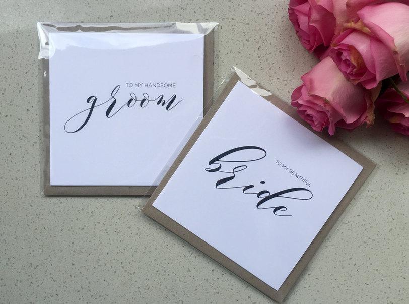 زفاف - To my Bride / To my groom / Wedding day cards / bride and groom note set