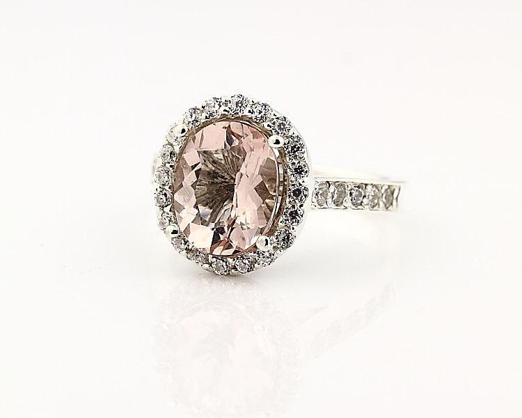 Mariage - Natural Facet Cut Morganite  Solid 14K White Gold Diamond engagement Ring