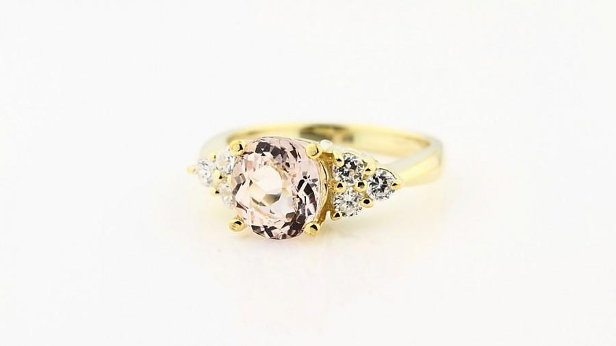 Свадьба - Natural  Morganite  Solid 14K Yellow Gold Diamond engagement Ring-Special