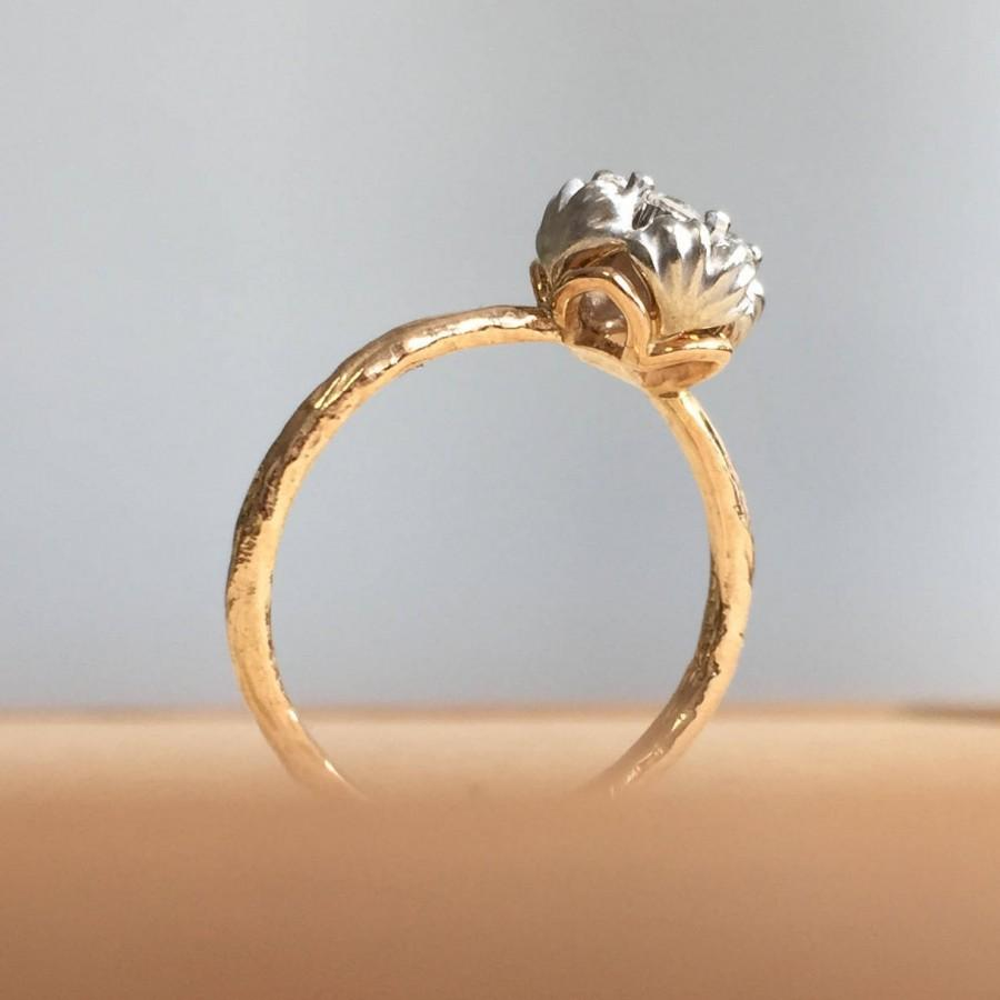 Свадьба - Rough gold ring, Diamond floral ring, Leaf wedding ring, Lotus promise ring, Flower shape diamond ring, Flower engagement ring, size 4 to 9