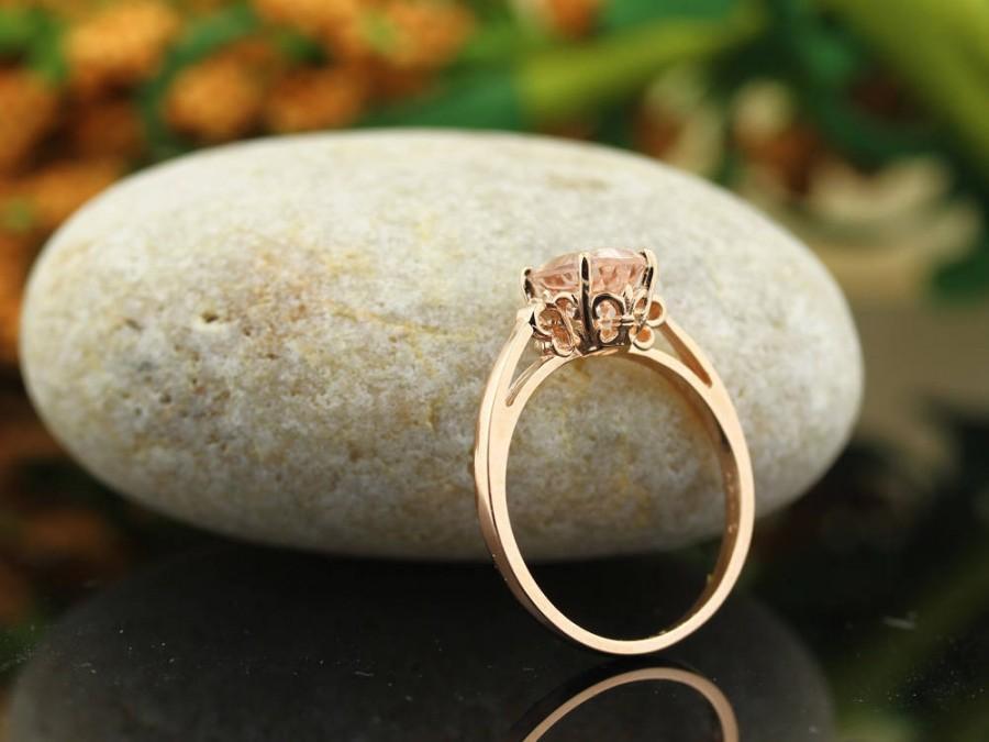 Свадьба - Natural AAA  Pink Morganite   Fleur-de-Lis Ring  ,Solitaire Gold engagement  Ring In 14K Rose  - Gem1305