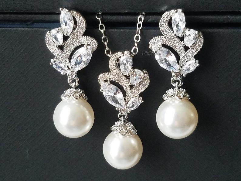 Wedding - White Pearl Bridal Jewelry Set, Swarovski 10mm Pearl Earring&Necklace Set, Wedding Pearl Jewelry, Pearl Silver Jewelry Set, Pearl Floral Set