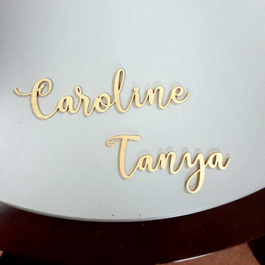 Wedding - Wood place card wedding place cards script personalized wedding laser cut names