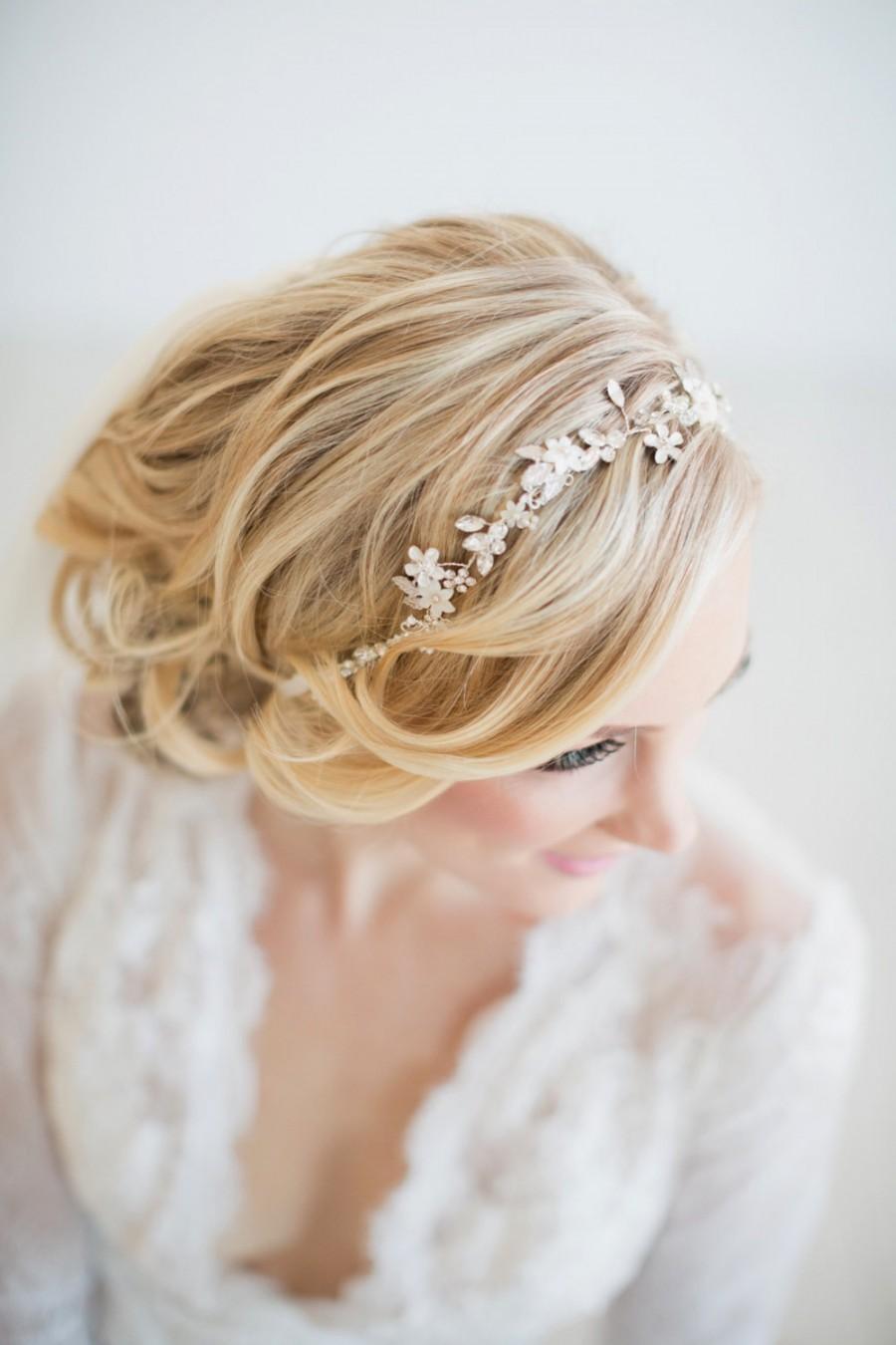 Wedding - Wedding Floral Hair Vine,  Silver Wedding Hair Vine, Gold Bridal Headpiece, Boho Headpiece, Bridal Hairpiece, Floral Wedding Hair Accessory