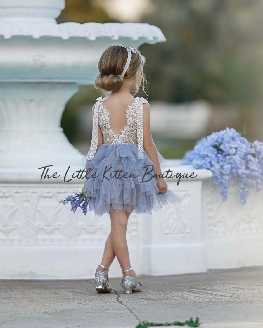 زفاف - Tulle Flower Girl Dress, Ivory Flower Girl Dress, White Lace Flower Girl Dresses, pink blush flower girl Dress, girls boho Birthday dress