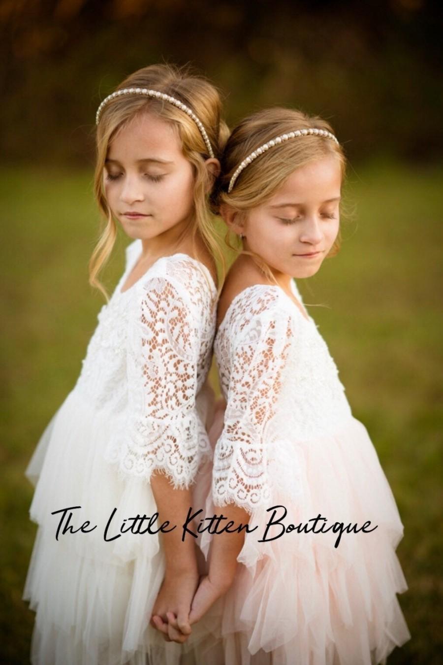 Mariage - Blush pink tulle flower girl dress, White lace flower girl dress, Rustic flower girl dress, Ivory Boho flower girl dress, Toddler dress tutu