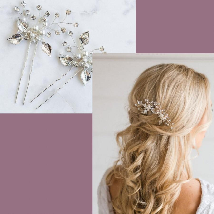 Wedding - Floral Bridal Hair Pin, Bridal Hair Accessory, Pearl & Rhinestone Bridal Pin, Floral Wedding Hair Comb, Pearl Wedding Hair Pin