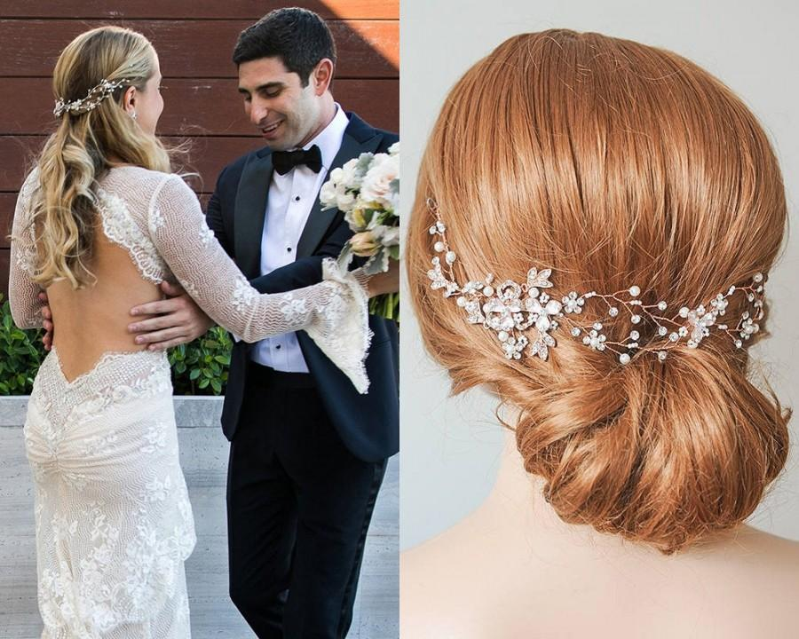 Hochzeit - Rose Gold Wedding Headband, Silver, Gold Bridal Hair Vine, Flower Leaf Boho Headpiece, Pearl Hair Accessories, Wedding Hair Jewelry, TAYAH