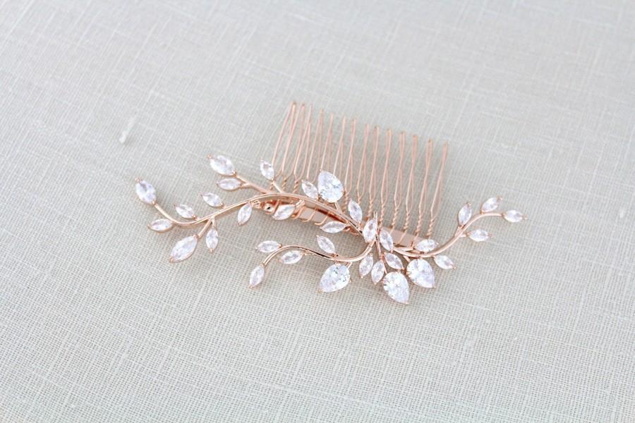 زفاف - Rose Gold bridal hair comb Bridal hair accessories Wedding hair piece CZ Wedding headpiece Crystal Wedding comb Leaf hair comb APRILLE
