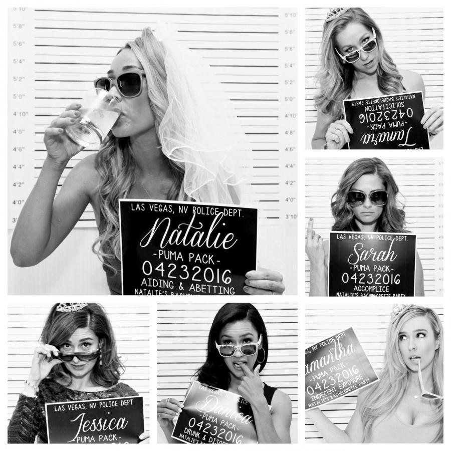 Hochzeit - Bachelorette Party Mugshot Signs.  Customized with your girls' information, and your ink color!