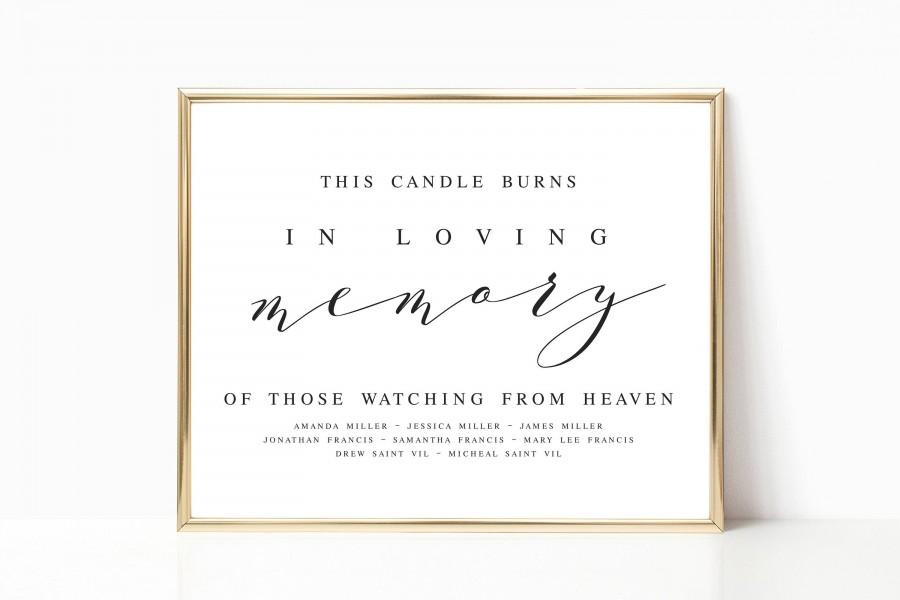 Mariage - Elegant This Candle Burns In Loving Memory Wedding Sign Template In Loving Memory Wedding Memory Sign Wedding Memorial Sign #WP10