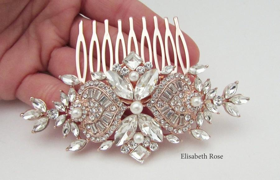 Hochzeit - Rose Gold Hair Art Deco Style Hair Comb, Elegant Rose Gold Hair Comb for Wedding, Bridal Hair Comb, Rose Gold Hair Comb, Crystal Hair Comb