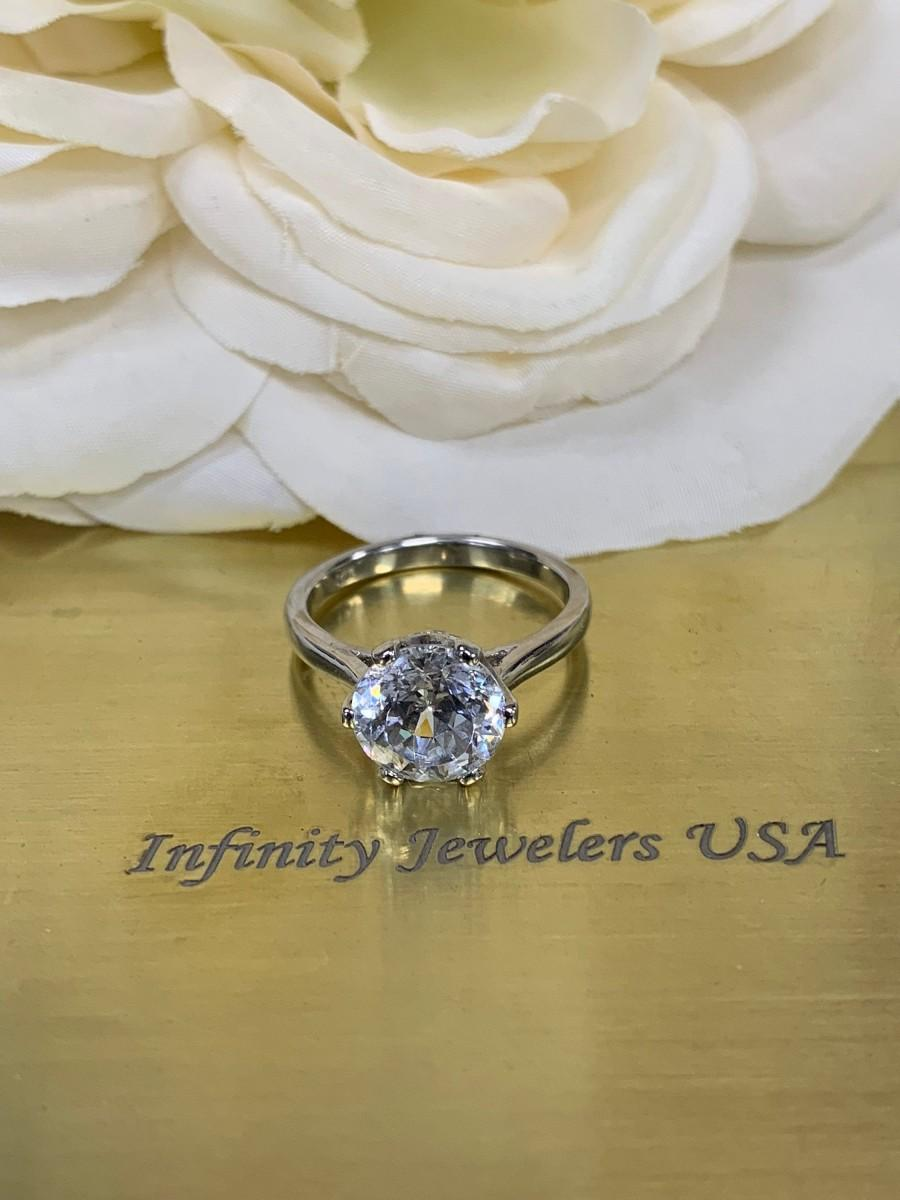 Wedding - Round extra brilliant 100 facet solitaire ring, with 6 prong crown setting engagement ring, 14k white gold #5653
