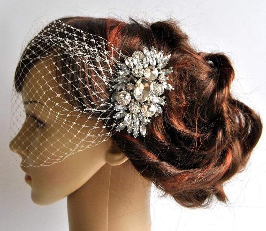 Hochzeit - Bandeau Veil with rhinestone comb, Birdcage Wedding Veil, Bridal Veil, Rhinestone veil, crystal  BirdCage Veil with rhinestone bridal comb