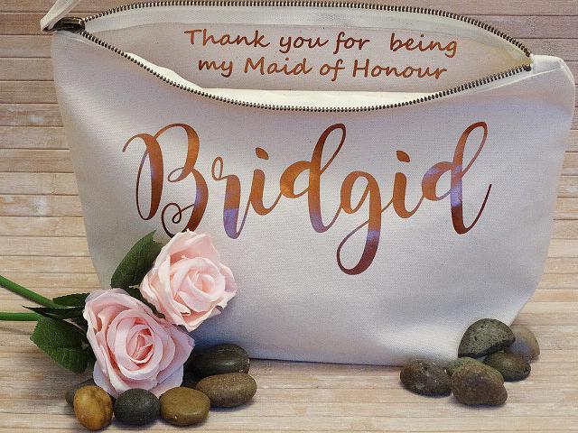 زفاف - Personalised Cosmetic Bag Thank You Gift - Ideal for Bridesmaids Token